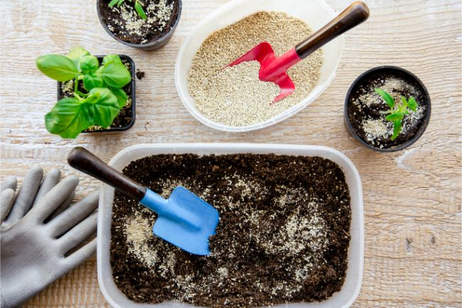 mixing potting soil for indoor plants